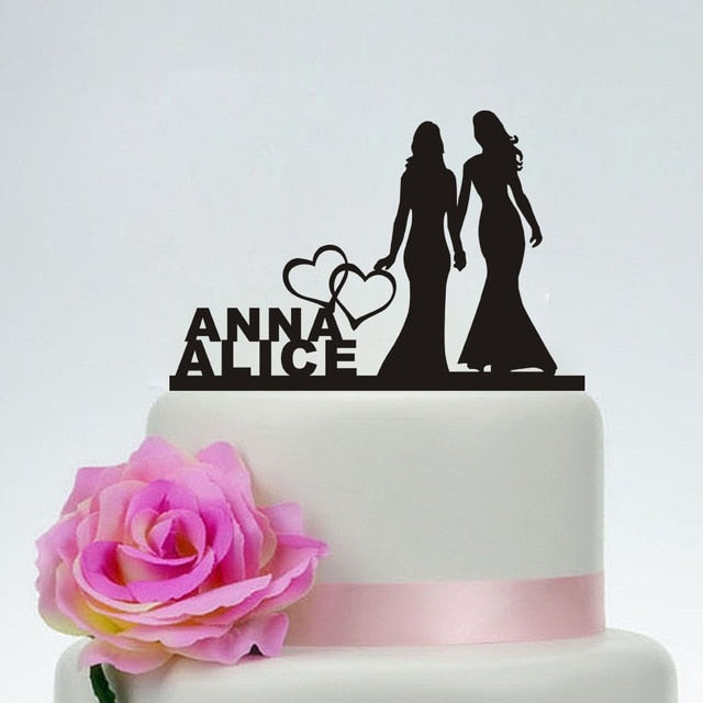 Personalized Bride and Bride Wedding Cake Topper-Custom Wedding, Same Sex Wedding-Black-Cheery Toppers