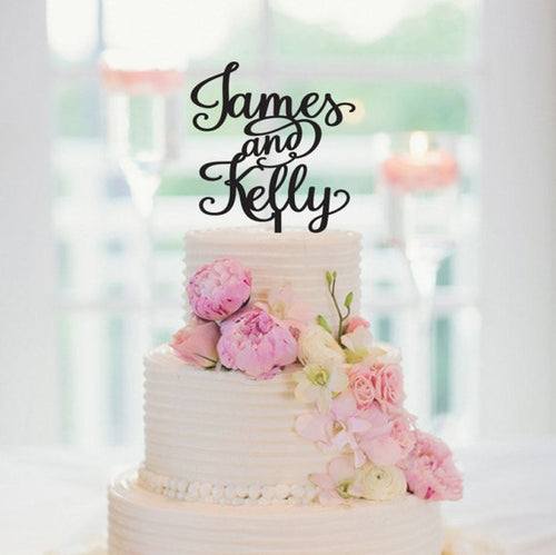 Personalized Handwriting Letters Wedding Cake Topper-Custom Wedding, Rustic Wedding-Gold-Cheery Toppers