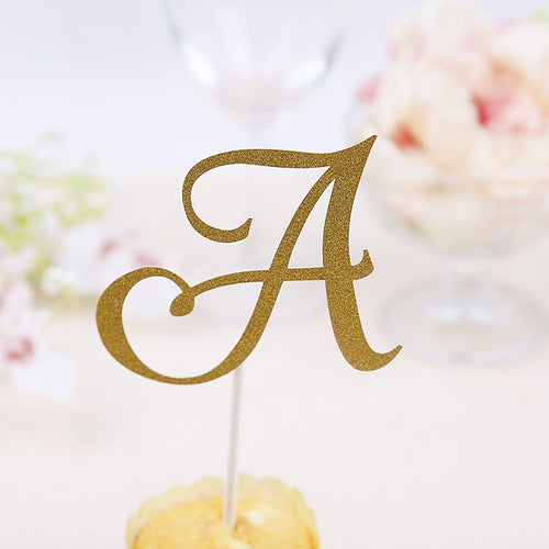 Glitter Letter Cake Topper-Bachelorette, Bat Mitzvah, Bridal Shower, Cupcake Wedding, Quinceanera-A-Cheery Toppers