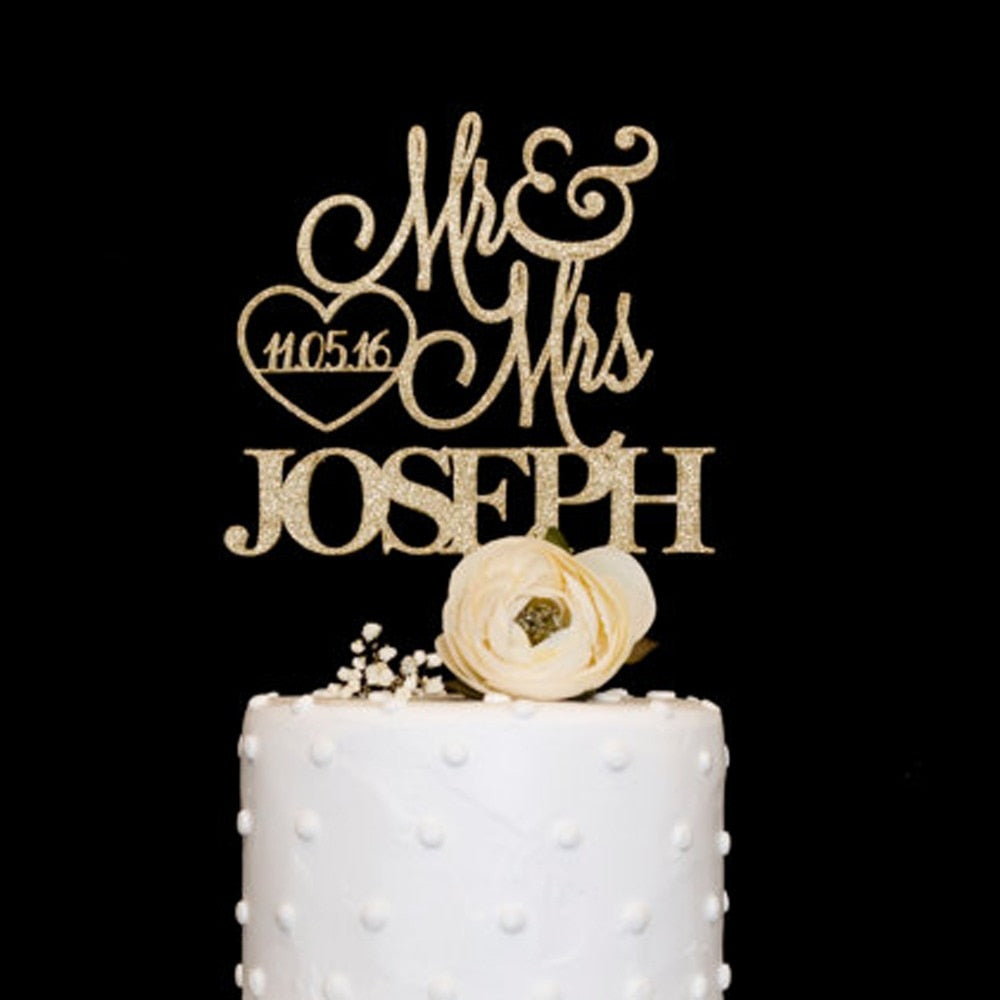 Personalized Mr. & Mrs. with Your Special Date Wedding Cake Topper-Custom Wedding, Rustic Wedding-Glitter Gold-16cm-Cheery Toppers