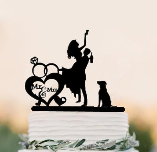 Mixed Style Black Acrylic (Maryam)-family toppers, Funny Wedding, silhouettes-Cheery Toppers