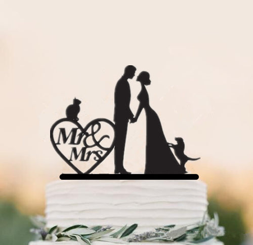 Bride and Groom Silhouette with Pet Dog Cat Wedding Cake Topper-family toppers, silhouettes-Cheery Toppers
