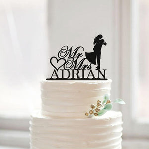 Personalized Romantic Wedding Cake Topper with Last Name