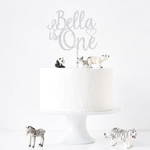 Custom Personalized Birthday Cake Topper-custom birthday-Glitter Silver-Cheery Toppers
