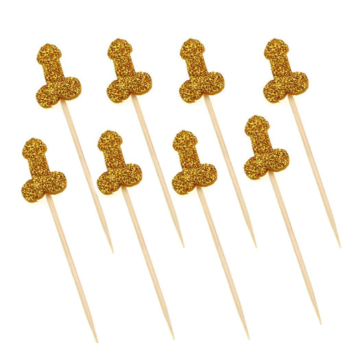 12pcs Glitter Willy Penis Cake Cupcake Topper-Bachelorette-Gold Gilitter-Cheery Toppers