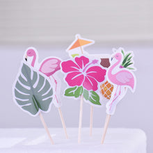Load image into Gallery viewer, Tropical Hawaii Cupcake Toppers (Set of 24)-Bachelorette, Cupcake Birthday, flamingo, pineapple, Tropical-Cheery Toppers