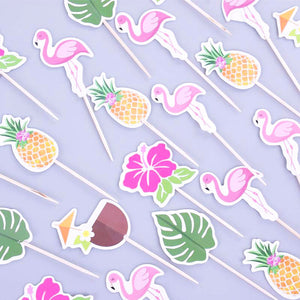 Tropical Hawaii Cupcake Toppers (Set of 24)-Bachelorette, Cupcake Birthday, flamingo, pineapple, Tropical-Cheery Toppers