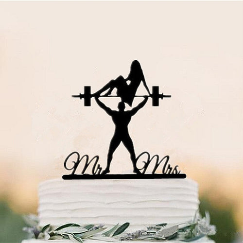 Funny Body Building Bride and Groom Wedding Cake Topper-Funny Wedding, Silhouette-Cheery Toppers