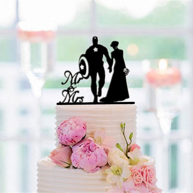 Funny Superhero Silhouette Bride and Groom Wedding Cake Topper-Funny Wedding, Silhouette-Cheery Toppers