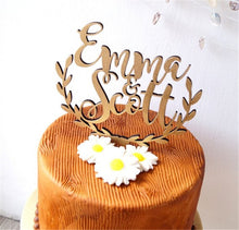 Load image into Gallery viewer, Personalized Rustic Half Wreath Wedding Cake Topper-Custom Wedding, Rustic Wedding-Wood-Cheery Toppers