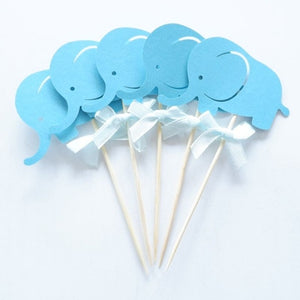 Blue Elephant Cupcake Toppers-blue baby shower, Cupcake Baby Shower, elephant boy-Cheery Toppers
