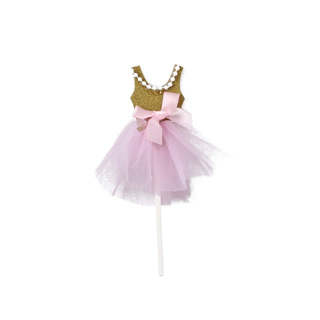 Ballerina/Princess Cupcake Toppers (Set of 5)-bachelorette, ballerina, Cupcake Baby Shower, Cupcake Birthday, Princess, Princess Baby Shower-Gold-Cheery Toppers