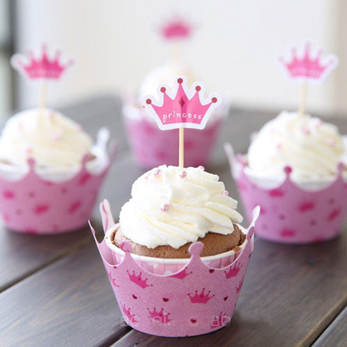 Princess Crown Cupcake Toppers and Wrappers (Set of 12)-Cupcake Baby Shower, Cupcake Birthday, Princess, Princess Baby Shower-Cheery Toppers