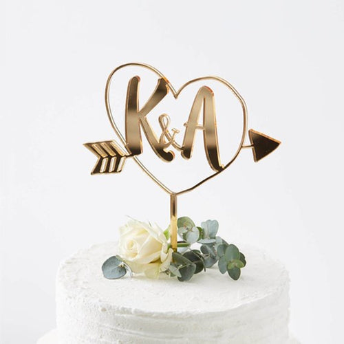 Personalized Initial Wedding Cake Topper-Custom Wedding, Rustic Wedding-Mirror Gold-Cheery Toppers