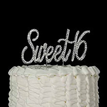 Load image into Gallery viewer, Sparkling Rhinestones Sweet 16 Cake Topper (Gold/Silver)-sweet sixteen-Silver-Cheery Toppers
