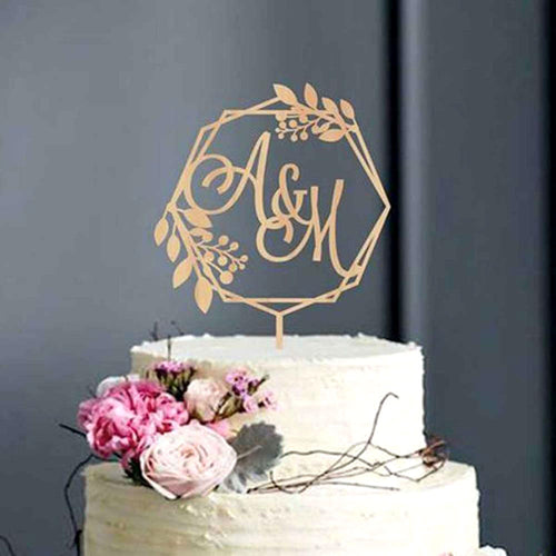 Personalized Monogram Rustic Wreath Wedding Cake Topper-Custom Wedding, Rustic Wedding-Mirror Gold-5.5