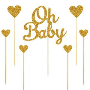 "Silver/Gold Glitter ""Oh Baby"" and Hearts Cake Topper Set-gender neutral, gender reveal-Gold-Cheery Toppers"