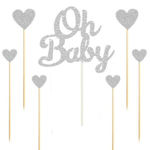 "Silver/Gold Glitter ""Oh Baby"" and Hearts Cake Topper Set-gender neutral, gender reveal-Silver-Cheery Toppers"