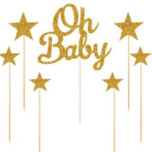 "Load image into Gallery viewer, Silver/Gold Glitter ""Oh Baby"" and Stars Cake Topper Set-gender neutral, gender reveal-Gold-Cheery Toppers"