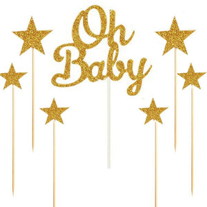 "Silver/Gold Glitter ""Oh Baby"" and Stars Cake Topper Set-gender neutral, gender reveal-Gold-Cheery Toppers"
