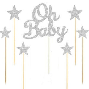 "Silver/Gold Glitter ""Oh Baby"" and Stars Cake Topper Set-gender neutral, gender reveal-Silver-Cheery Toppers"