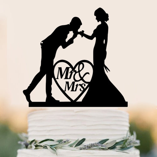 A Kiss on the Hand-Silhouette Wedding Cake Topper-Silhouette-Cheery Toppers
