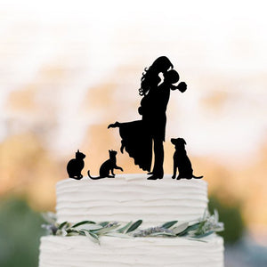 Wedding Cake Topper with Two Cats and a Dog