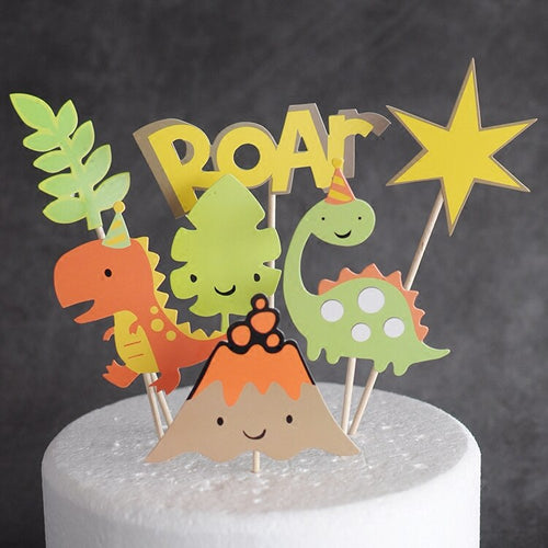 7 Piece Cartoon Dinosaur Cake Topper-dinosaur-Cheery Toppers