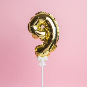 Small Aluminium Number Balloon Cake Topper-1st Birthday, Numbers-Gold 9-Cheery Toppers