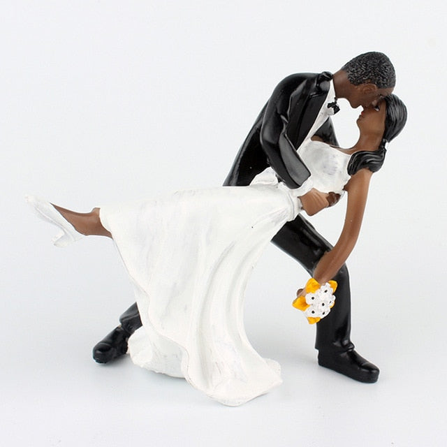 Sensual Dip-Black Figurine Wedding Cake Topper-Classic Wedding, Dark Skin-Cheery Toppers