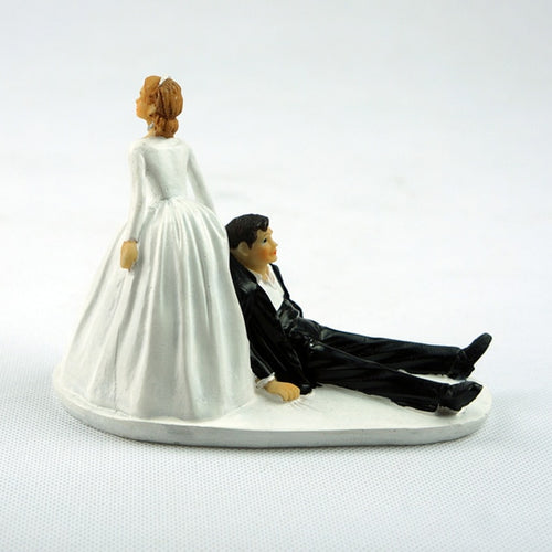 "Funny ""Doll Bride Dragging Groom"" Wedding Cake Topper-Funny Wedding-Cheery Toppers"