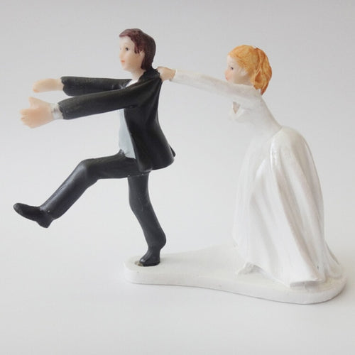 Wedding Cake Topper Dolls Groom and Bride Chasing (Maryam 10)-Funny Wedding-Cheery Toppers
