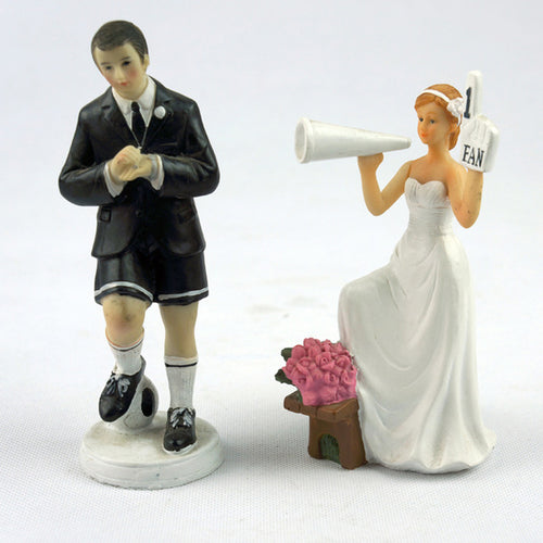 Wedding Cake Topper Dolls Groom and Bride Soccer / Sports (Maryam 11)-Funny Wedding-Cheery Toppers