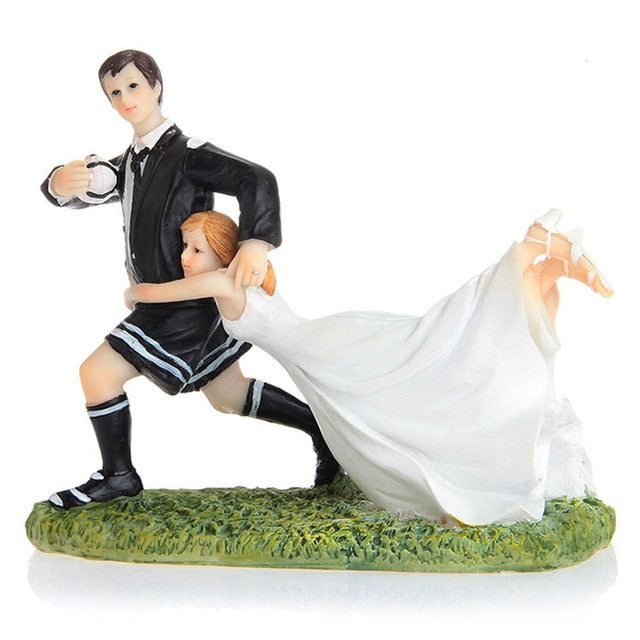 Wedding Cake Topper Dolls Groom and Bride Playing Soccer (Maryam 12)-Funny Wedding-Cheery Toppers