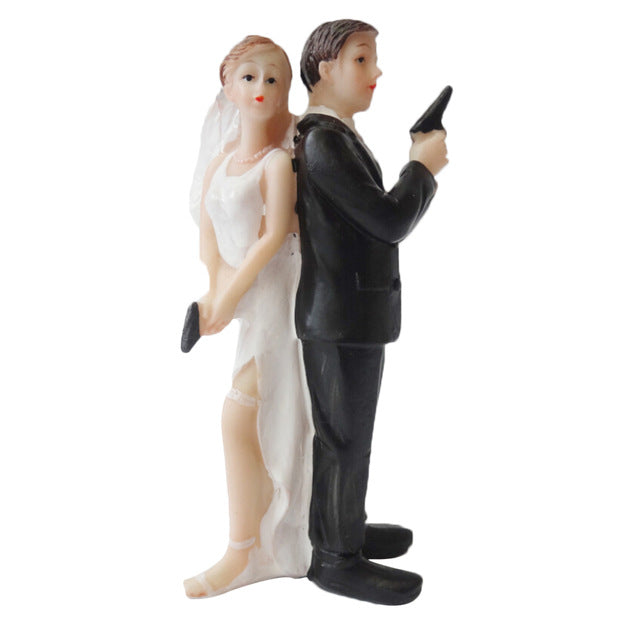 Wedding Cake Topper Dolls Mr. & Mrs. (Maryam 12)-Funny Wedding-Cheery Toppers
