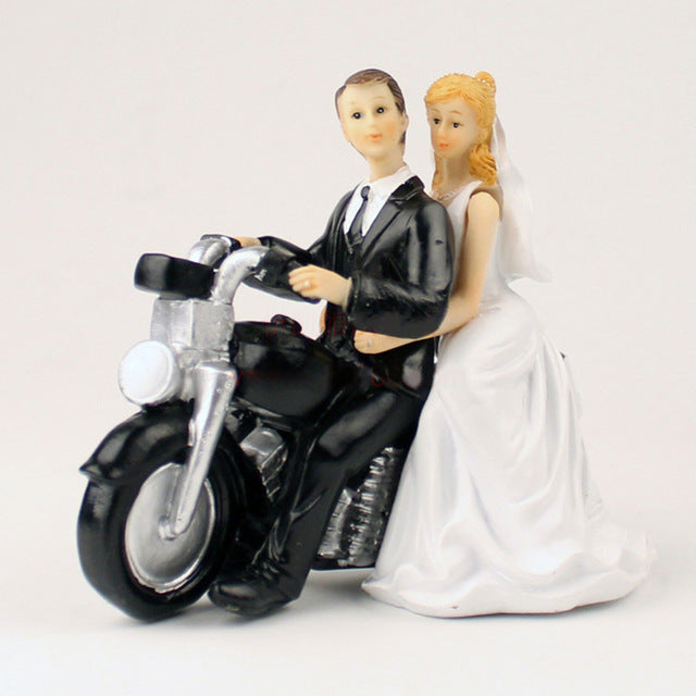 Motorcycle Ride-Figurine Wedding Cake Topper-Classic Wedding-Cheery Toppers