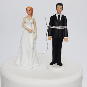 "Funny ""All Tied Up"" Bride and Groom Wedding Cake Topper-Funny Wedding-Cheery Toppers"