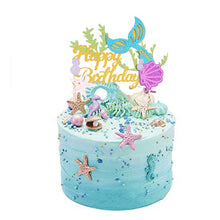 "Load image into Gallery viewer, ""Happy Birthday"" Glitter Mermaid Cake Topper-""happy birthday"", Mermaid-Cheery Toppers"