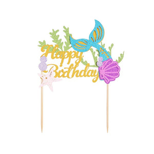 """Happy Birthday"" Glitter Mermaid Cake Topper-""happy birthday"", Mermaid-Cheery Toppers"