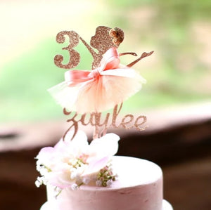 "Custom Ballerina Cake Topper-1st birthday, ballerina, custom birthday-8"" wide-Cheery Toppers"