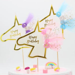 """Happy Birthday"" Gold Unicorn Tulle Cake Topper-""Happy Birthday"", Unicorn-1PC Unicornn Pink-Cheery Toppers"