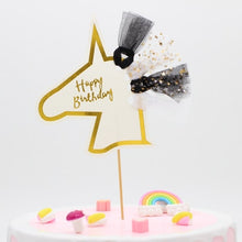 "Load image into Gallery viewer, ""Happy Birthday"" Gold Unicorn Tulle Cake Topper-""Happy Birthday"", Unicorn-1PC Unicornn Black-Cheery Toppers"