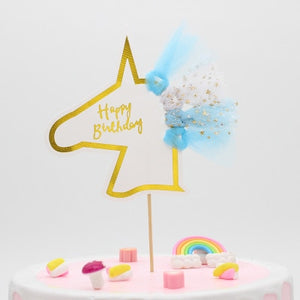 """Happy Birthday"" Gold Unicorn Tulle Cake Topper-""Happy Birthday"", Unicorn-1PC Unicornn Blue-Cheery Toppers"