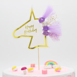 """Happy Birthday"" Gold Unicorn Tulle Cake Topper-""Happy Birthday"", Unicorn-1PC Unicornn Purple-Cheery Toppers"