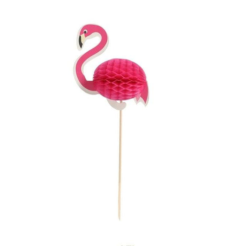 Puff Up Flamingo Cupcake Topper (Set of 10)-Bachelorette, Cupcake Baby Shower, Cupcake Birthday, tropical-Cheery Toppers