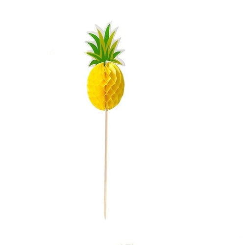 Puff Up Pineapple Cupcake Topper (Set of 10)-Bachelorette, Cupcake Baby Shower, Cupcake Birthday, tropical-Cheery Toppers