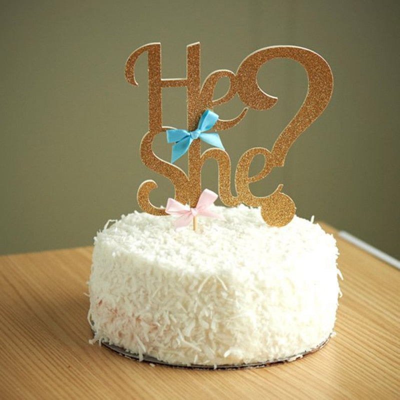 He or She? Gender Reveal Gold/Silver Glitter Baby Shower Cake Topper-gender reveal-Gold-Cheery Toppers