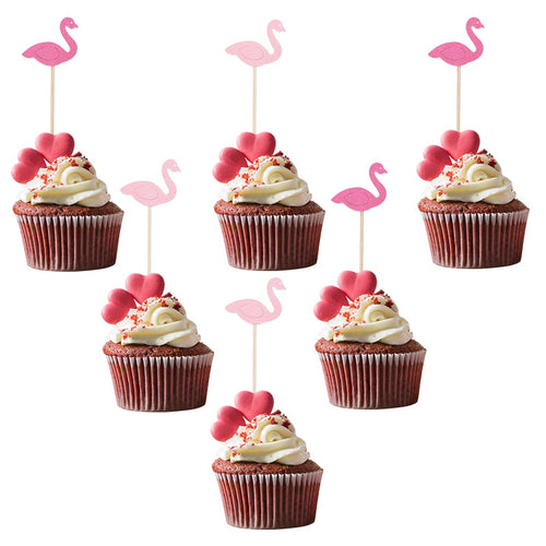 Light/Rose Pink Flamingo Cupcake Toppers (Set of 20, 30, 50, or 60)-Bachelorette, Cupcake Baby Shower, Cupcake Birthday, Cupcake Wedding, flamingo, Tropical-Mixed-20pcs-Cheery Toppers
