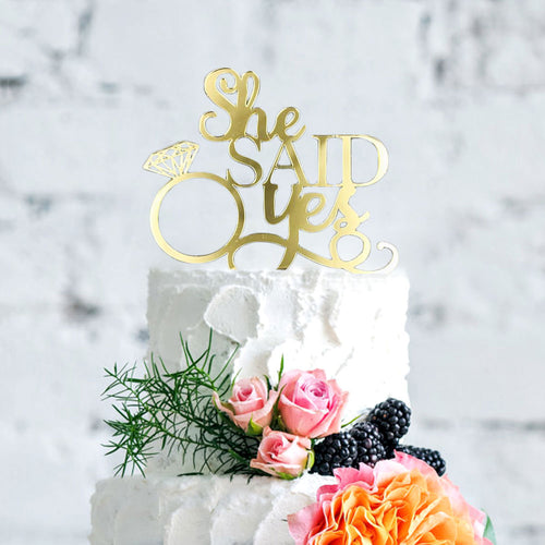 """She Said Yes Engagement Ring"" Wedding Cake Topper-Bachelorette, Bridal Shower-Pink-Cheery Toppers"