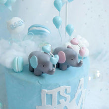 Load image into Gallery viewer, Elephant with Heart Balloon Cake Toppers-blue baby shower, elephant boy-Heart Ball Elephant Blue-Cheery Toppers